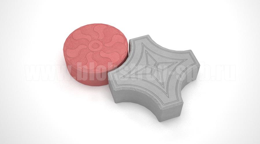 Тротуарная плитка «Кружева» серая + красная