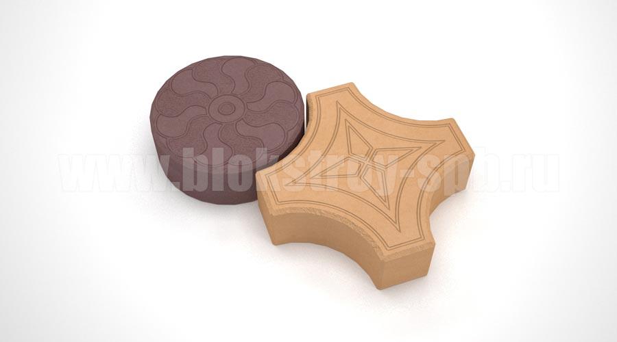 """Тротуарная плитка """"Кружева"""" оранжевая+коричневая"""