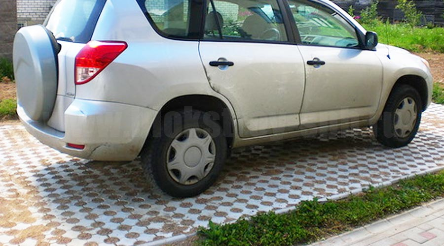 парковка мощеная плиткой эко